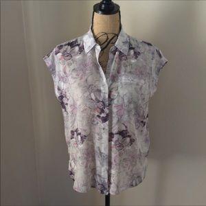 Rebecca Taylor soft silk floral blouse size 2